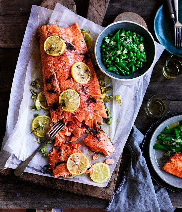 **Danielle Alvarez's slow-cooked ocean trout with peas, and meyer lemon and fennel salsa**