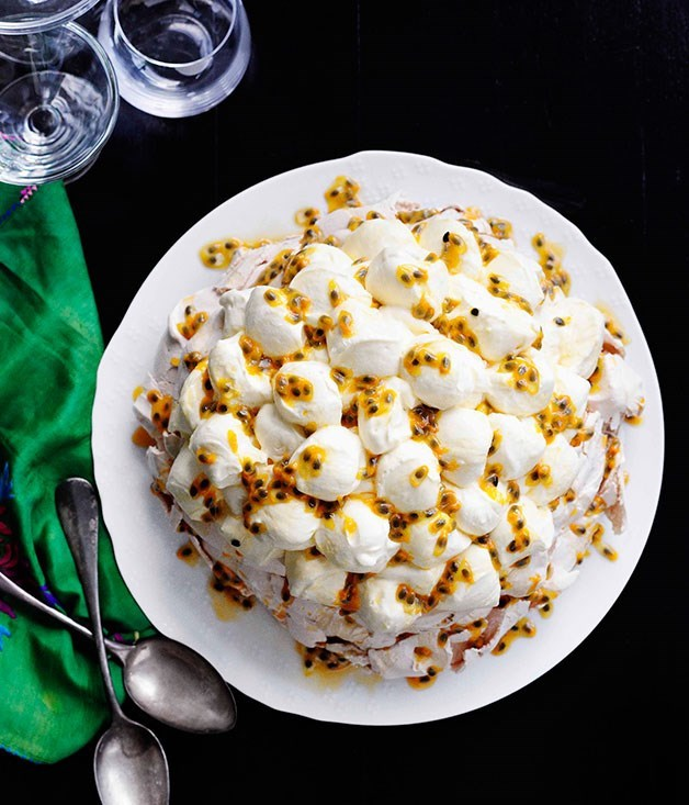 "[**Passionfruit pavlova**](https://www.gourmettraveller.com.au/recipes/chefs-recipes/rockpool-bar-and-grills-passionfruit-pavlova-7557|target=""_blank"")"
