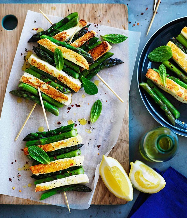 "[Char-grilled asparagus and haloumi with mint and lemon](https://www.gourmettraveller.com.au/recipes/browse-all/char-grilled-asparagus-and-haloumi-with-mint-and-lemon-11121|target=""_blank"")"