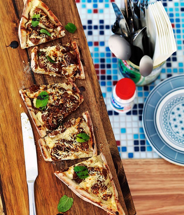**Haloumi, ricotta and peppered fig pide**