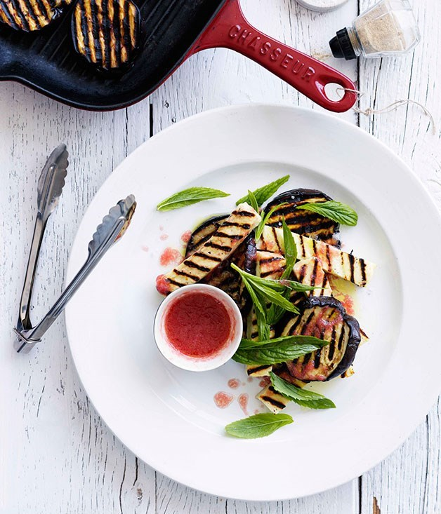 "[Grilled eggplant and haloumi with tomato vinaigrette](https://www.gourmettraveller.com.au/recipes/browse-all/grilled-eggplant-and-haloumi-with-tomato-vinaigrette-10586|target=""_blank"")"