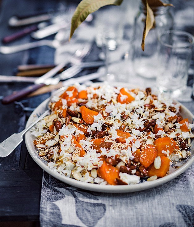 **Roasted carrots with feta, almonds and sherry caramel**
