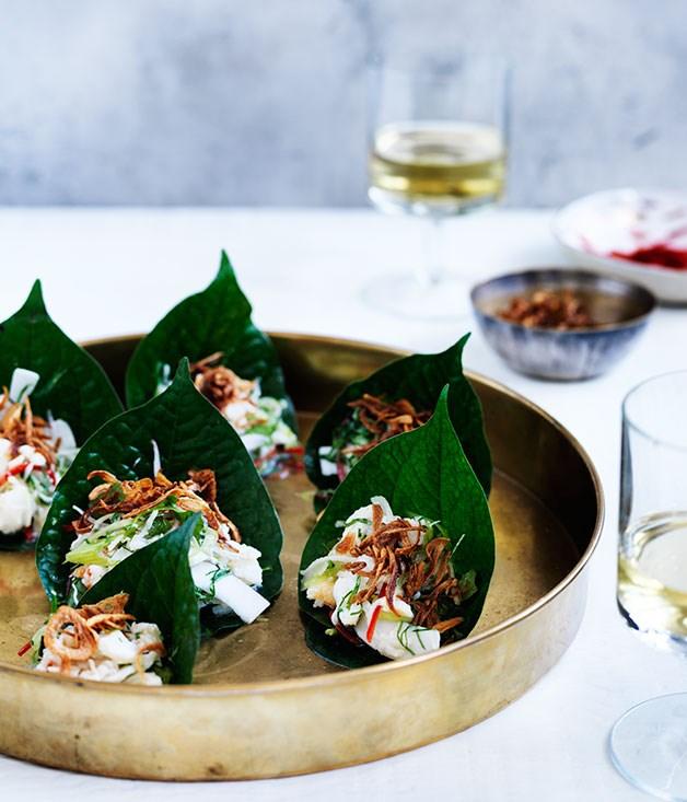 Coconut crab and green mango salad