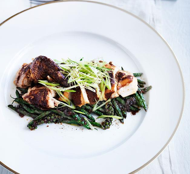 Christine Manfield's soy-braised chicken with green bean sambal