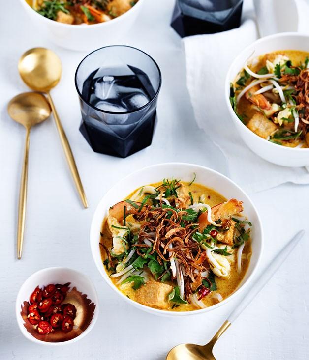 "[**Christine Manfield's prawn laksa**](https://www.gourmettraveller.com.au/recipes/chefs-recipes/christine-manfields-prawn-laksa-8522 target=""_blank"")"