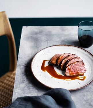 Daniel Puskas' dry-aged lamb rump with caramelised pumpkin juice
