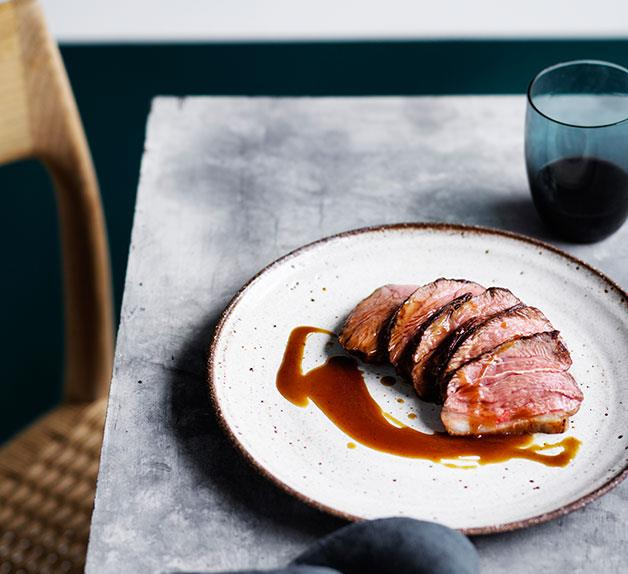 Daniel Puskas' dry-aged lamb rump with caramelised pumpkin juice