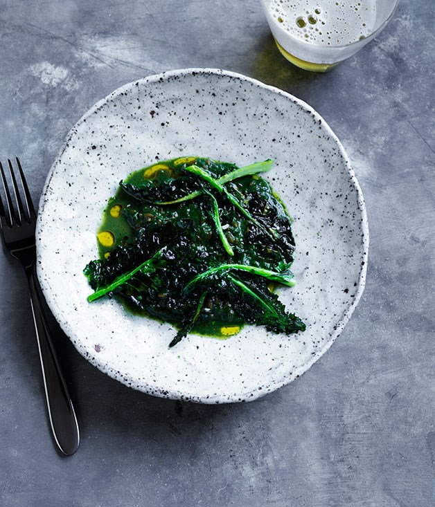 David Moyle's nettles with spelt, smoked bone marrow and toasted broccoli leaves