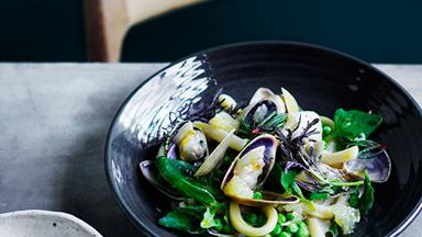 Ben Devlin's pici with pipis and macadamia