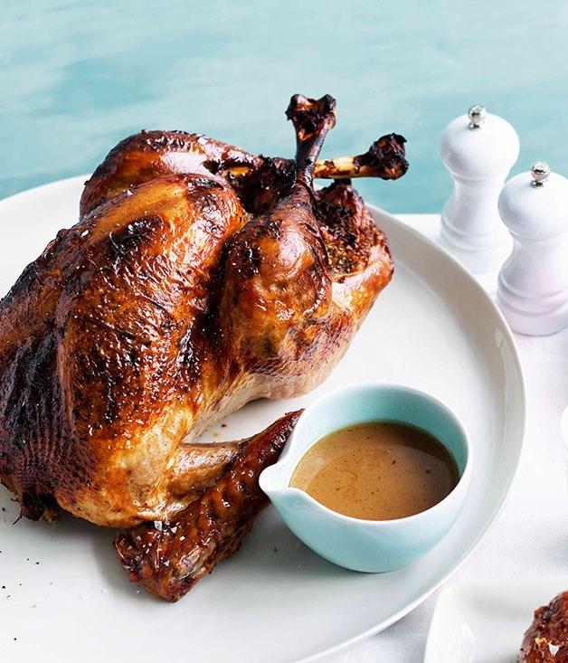 **Roast turkey with freekah and pancetta stuffing**