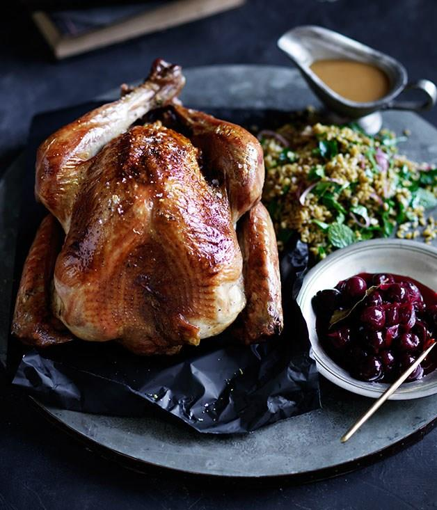 "[**Roast turkey with sour-cherry stuffing and pickled cherries**](https://www.gourmettraveller.com.au/recipes/browse-all/roast-turkey-with-sour-cherry-stuffing-and-pickled-cherries-12403|target=""_blank"")"