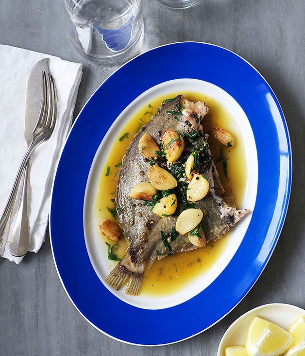 **Roast whole dory with caramelised garlic and crushed black pepper**