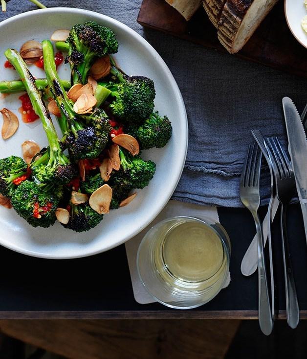 **Broccolini with chilli and burnt-garlic vinaigrette**