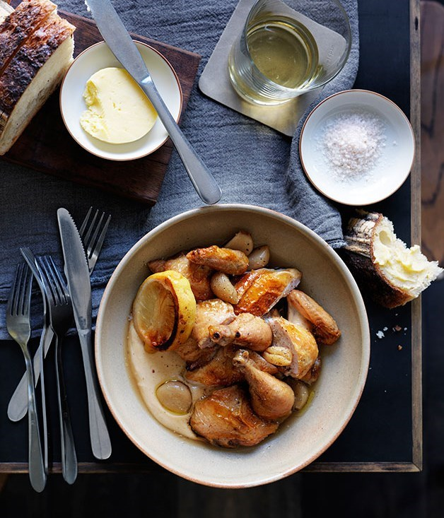 **Roast spatchcock with garlic-bread sauce**