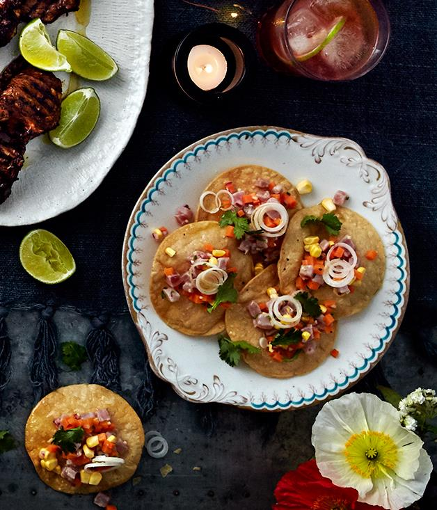 """[Tuna ceviche with ginger, chilli and corn](https://www.gourmettraveller.com.au/recipes/browse-all/tuna-ceviche-with-ginger-chilli-and-corn-12632