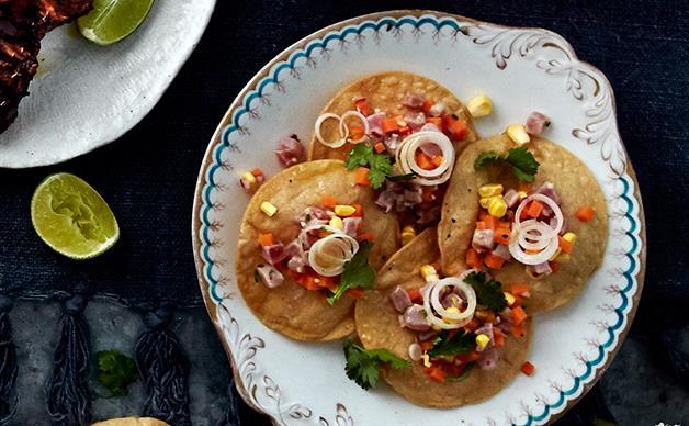 Tuna ceviche with ginger, chilli and corn