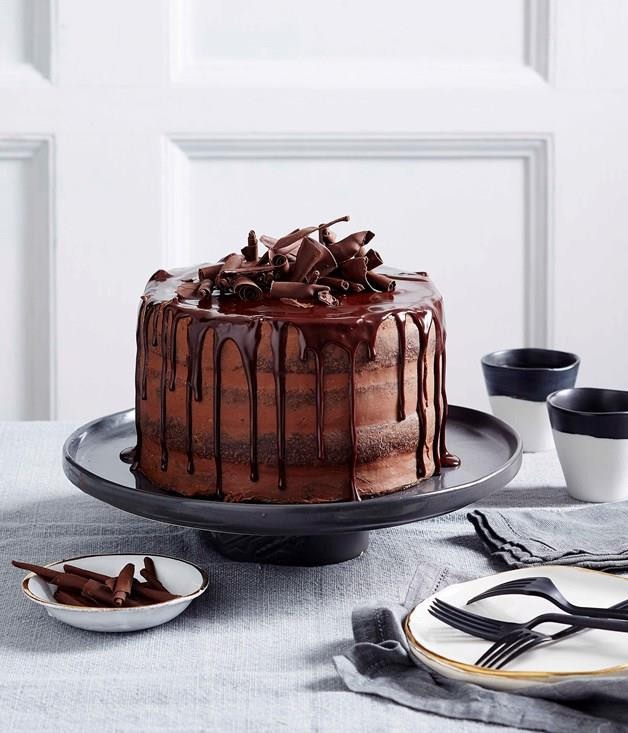 """[**Chocolate truffle layer cake**](https://www.gourmettraveller.com.au/recipes/browse-all/chocolate-truffle-layer-cake-14004 target=""""_blank"""")"""