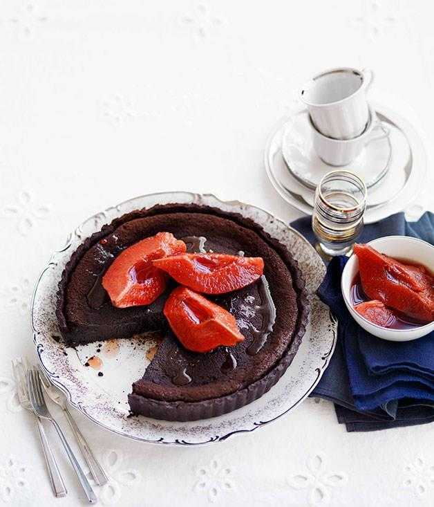 """[**Chocolate and quince tart**](https://www.gourmettraveller.com.au/recipes/browse-all/chocolate-and-quince-tart-13908 target=""""_blank"""")"""