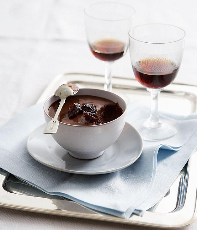 "[**Chocolate pots with Pedro Ximénez-spiced sour cherries**](https://www.gourmettraveller.com.au/recipes/browse-all/chocolate-pots-with-pedro-ximenez-spiced-sour-cherries-14252 target=""_blank"")"