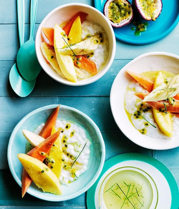 """[**Mango and papaya with coconut tapioca and lime syrup**](https://www.gourmettraveller.com.au/recipes/browse-all/mango-and-papaya-with-coconut-tapioca-and-lime-syrup-12447