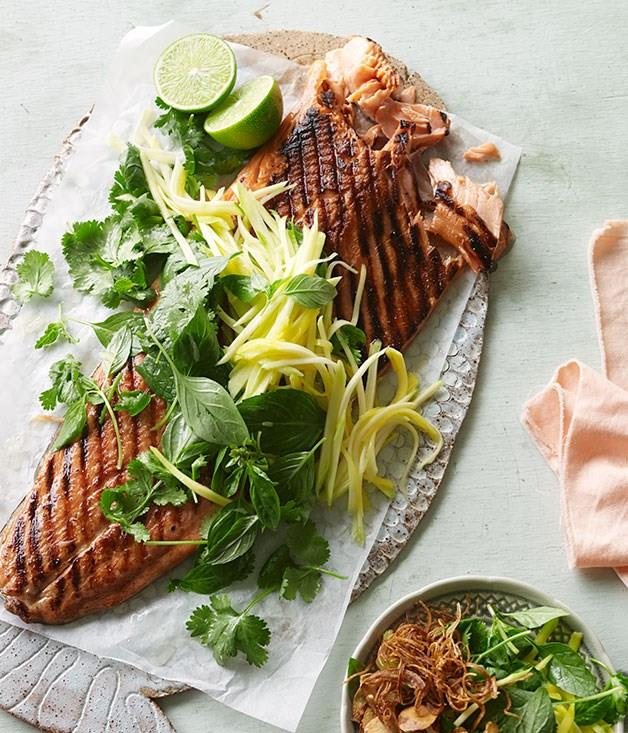 """[**Barbecued ocean trout with green mango and shallot salad**](https://www.gourmettraveller.com.au/recipes/browse-all/barbecued-ocean-trout-with-green-mango-and-shallot-salad-11905