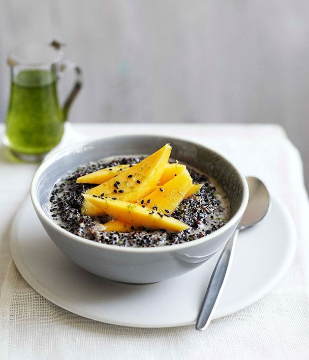 **Black quinoa with coconut, mango and kaffir lime syrup**