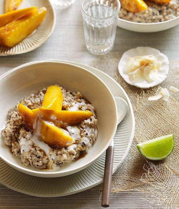 """[**Sweet coconut quinoa with sticky mango**](https://www.gourmettraveller.com.au/recipes/browse-all/sweet-coconut-quinoa-with-sticky-mango-11857