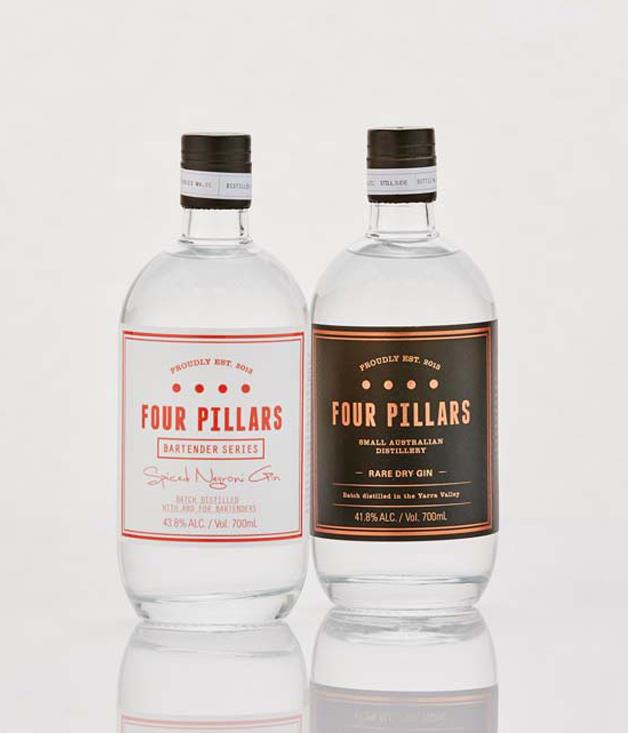 **Four Pillars Gins** **Four Pillars Rare Dry Gin, $75 - [buy it here.](http://sorrythanksiloveyou.com/four-pillars-rare-dry-gin)   **Four Pillars Rare Dry Gin is spicy, but with great citrus note - a truly modern Australian gin. The gin is made using whole oranges, which is unusual, but Australian citrus is highly aromatic and supports spicier botanicals like cardamom.  **Four Pillars Spiced Negroni Gin, $85 - [buy it here.](http://sorrythanksiloveyou.com/four-pillars-spiced-negroni-gin)   **Created especially to be included in a Negroni, Four Pillars Spiced Negroni Gin is a highly aromatic, rich and (yes) spicy gin with great power and intensity. It features Tasmanian pepperberry leaf and cinnamon, an exotic West African spice called grains of paradise, beautiful organic blood oranges mixed in with the botanicals, as well as some ginger.