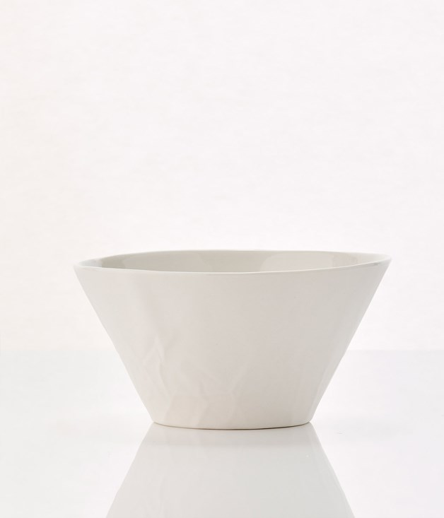 **Hayden Youlley Paper Series Salad Bowl - $92** **[Buy it here.](http://sorrythanksiloveyou.com/paper-series-salad-bowl-hayden-youlley)**  Hayden Youlley's Paper series uses porcelain to create a tactile experience. The simple, random distribution of creases in the paper surface of the objects creates complex patterns of light, shade and texture that disrupt the smooth surface and invite investigation and touch. The dinnerware is made by hand-casting the paper in porcelain and, in turn, transforming something that's often discarded, fragile and temporary into something robust and permanent.