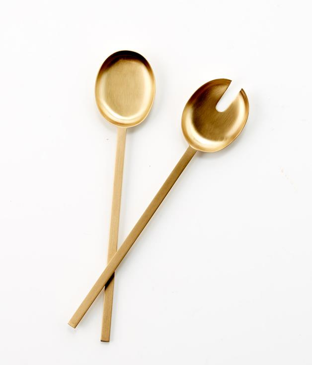**Madras Link x Gourmet Traveller Harvey Salad Servers - $84.95** [**Buy them here.**](http://sorrythanksiloveyou.com/madras-link-x-gourmet-traveller-harvey-salad-servers)  Add glamour to every dining occasion with this Maxwell serving ware from Madras Link x _Gourmet Traveller_. Made from brass, the salad server set includes a salad fork and spoon with a contemporary design.