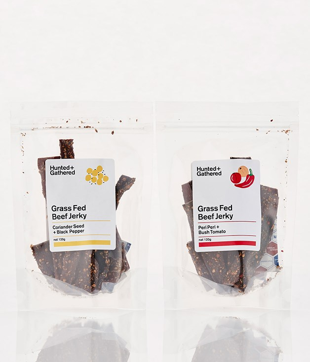 **Hunted + Gathered Jerky - $19.99** [Buy it here.](http://sorrythanksiloveyou.com/hunted-gathered-coriander-seed-and-black-pepper-jerky)  Australian grass-fed beef, air dried and subtly flavoured with a traditional South African spice mixture. Contains no soy, gluten, preservatives or added hormones.