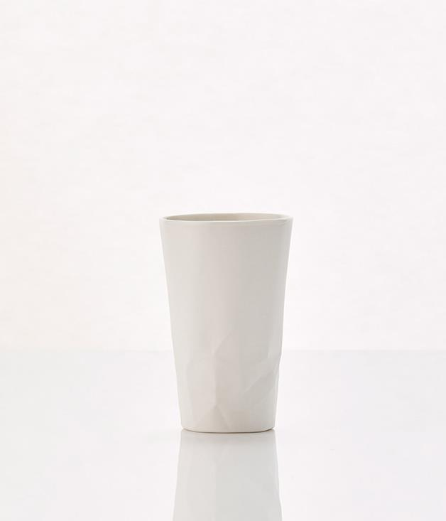 **Hayden Youlley paper series cup - $40** [Buy it here.](http://sorrythanksiloveyou.com/paper-series-cup)  Hayden Youlley's Paper series uses porcelain to create a tactile experience. The dinnerware is made by hand-casting the paper in porcelain and, in turn, transforming something that's often discarded, fragile and temporary into something robust and permanent.