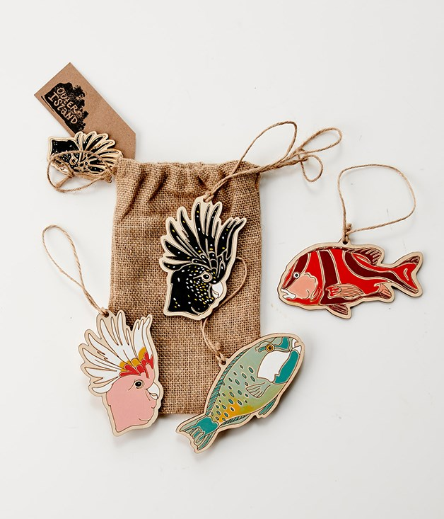 **Outer Island ornaments - $22** [Buy it here.](http://sorrythanksiloveyou.com/gourmettraveller/books-and-gifts)  Bring the magic of Australian nature into your home for Christmas with this hand-painted wooden ornament with jute twine from Outer Island. 100 per cent made in Australia.