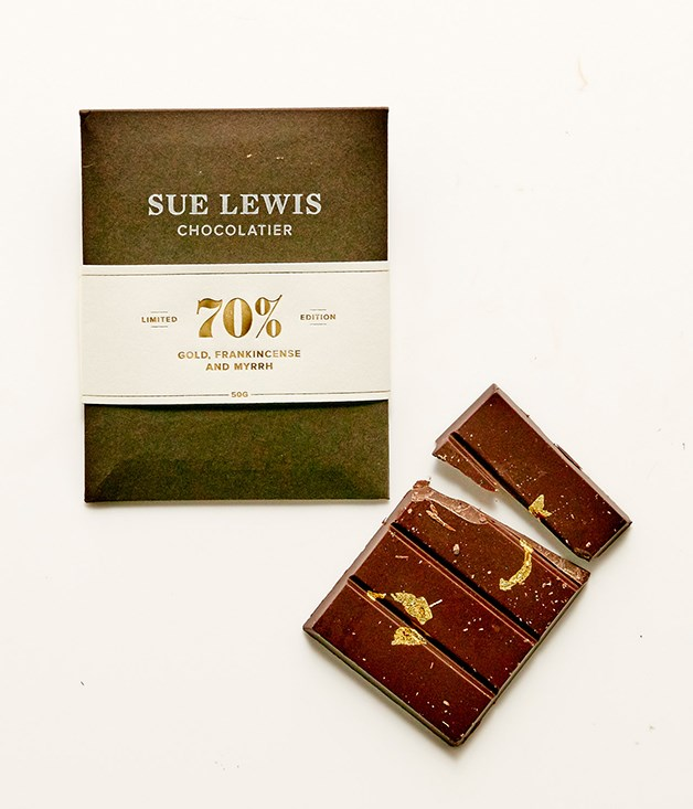 **Sue Lewis gold, frankincense and myrrh chocolate - $10** [Buy it here.](http://sorrythanksiloveyou.com/sue-lewis-70-per-cent-gold-frankincense-and-myrrh)  All natural and hand tempered chocolate. This is a limited edition product only available during December for the lead-up to Christmas. In a festive twist, 70 per cent dark chocolate is blended with the essential oils of frankincense and myrrh, and finished with 23-carat gold leaf. Season's eatings.