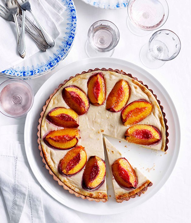 **Nectarine and spiced-ricotta tart**