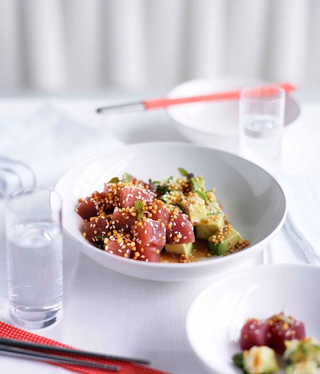 "[**Tuna and avocado salad with sesame dressing**](https://www.gourmettraveller.com.au/recipes/chefs-recipes/tuna-and-avocado-salad-with-sesame-dressing-8853|target=""_blank"")"