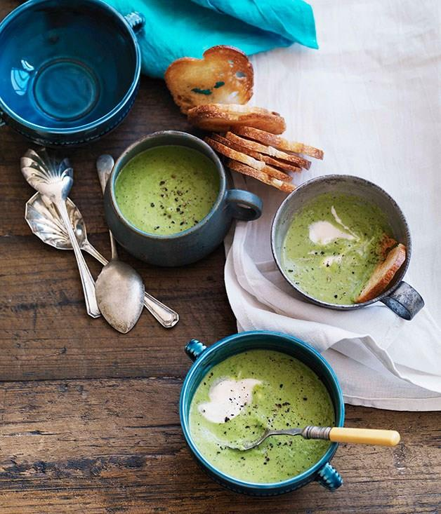 """[**Chilled pea and mint soup with garlic croutons**](https://www.gourmettraveller.com.au/recipes/browse-all/chilled-pea-and-mint-soup-with-garlic-croutons-10882 target=""""_blank"""")"""