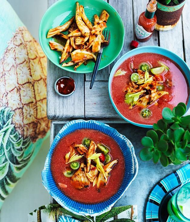 """[**Chilled spiced tomato soup with barbecued squid**](https://www.gourmettraveller.com.au/recipes/browse-all/chilled-spiced-tomato-soup-with-barbecued-squid-11853 target=""""_blank"""")"""