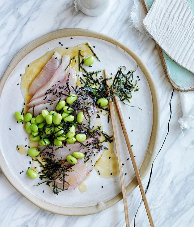 "[**Sashimi of mulloway with a sesame-citrus dressing, edamame and seaweed**](https://www.gourmettraveller.com.au/recipes/browse-all/sashimi-of-mulloway-with-a-sesame-citrus-dressing-edamame-and-seaweed-11894|target=""_blank"")"