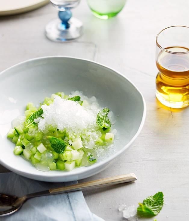 """[**Ice-cold peppermint tea with apple and lime**](https://www.gourmettraveller.com.au/recipes/chefs-recipes/ice-cold-peppermint-tea-with-apple-and-lime-8199 target=""""_blank"""")"""