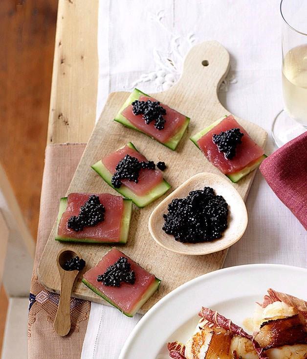 "[**Raw tuna with cucumber and Avruga caviar**](https://www.gourmettraveller.com.au/recipes/browse-all/raw-tuna-with-cucumber-and-avruga-caviar-10205 target=""_blank"")"