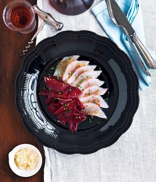 "[**Sashimi of mulloway with beetroot pickle**](https://www.gourmettraveller.com.au/recipes/chefs-recipes/sashimi-of-mulloway-with-beetroot-pickle-9040|target=""_blank"")"