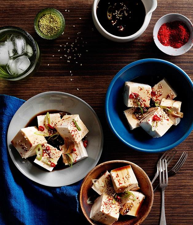 "[**Cold tofu with vinegar, garlic and soy**](https://www.gourmettraveller.com.au/recipes/chefs-recipes/cold-tofu-with-vinegar-garlic-and-soy-7767|target=""_blank"")"