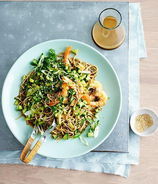 "[**Prawn and soba noodle salad with sesame-ginger dressing**](https://www.gourmettraveller.com.au/recipes/fast-recipes/prawn-and-soba-noodle-salad-with-sesame-ginger-dressing-13534 target=""_blank"")"