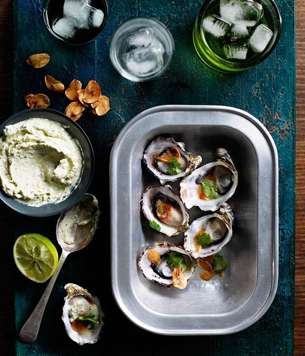 "[**Grilled oysters with lemongrass creme fraiche, fried garlic and lime**](https://www.gourmettraveller.com.au/recipes/chefs-recipes/grilled-oysters-with-lemongrass-creme-fraiche-fried-garlic-and-lime-7769|target=""_blank"")"