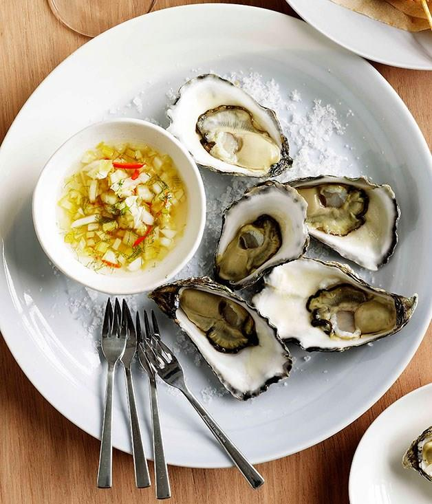 "[**Oysters with spicy fennel**](https://www.gourmettraveller.com.au/recipes/browse-all/oysters-with-spicy-fennel-10929|target=""_blank"")"