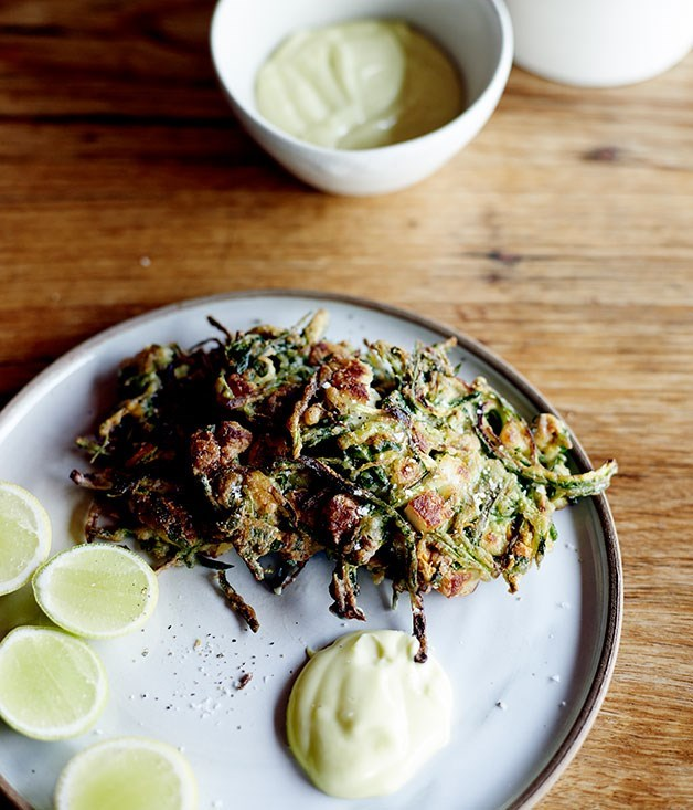 "[**Zucchini and haloumi fritters with lemon mayonnaise**](https://www.gourmettraveller.com.au/recipes/chefs-recipes/zucchini-and-haloumi-fritters-with-lemon-mayonnaise-8018|target=""_blank"")"