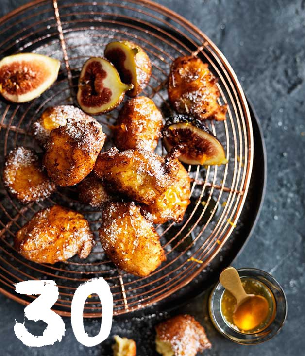 **Ricotta fritters with honey and figs**