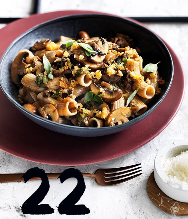**Rigatoni with mushrooms pecorino and herb crumbs**
