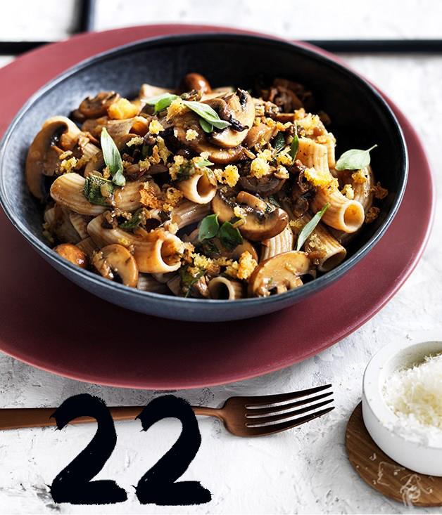 **Rigatoni with mushrooms pecorino and herb crumbs**